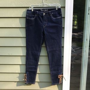White House Black Market Skinny Laced Ankle Jeans